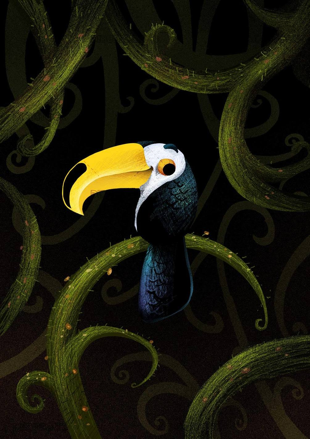 toucan between plants in the jungle