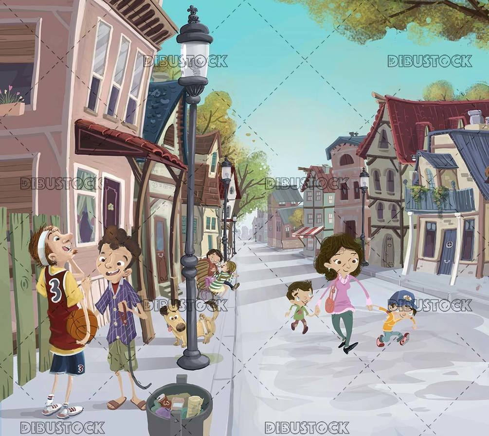 town with houses and people walking