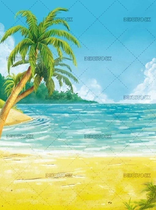 tropical beach landscape with sea in the background
