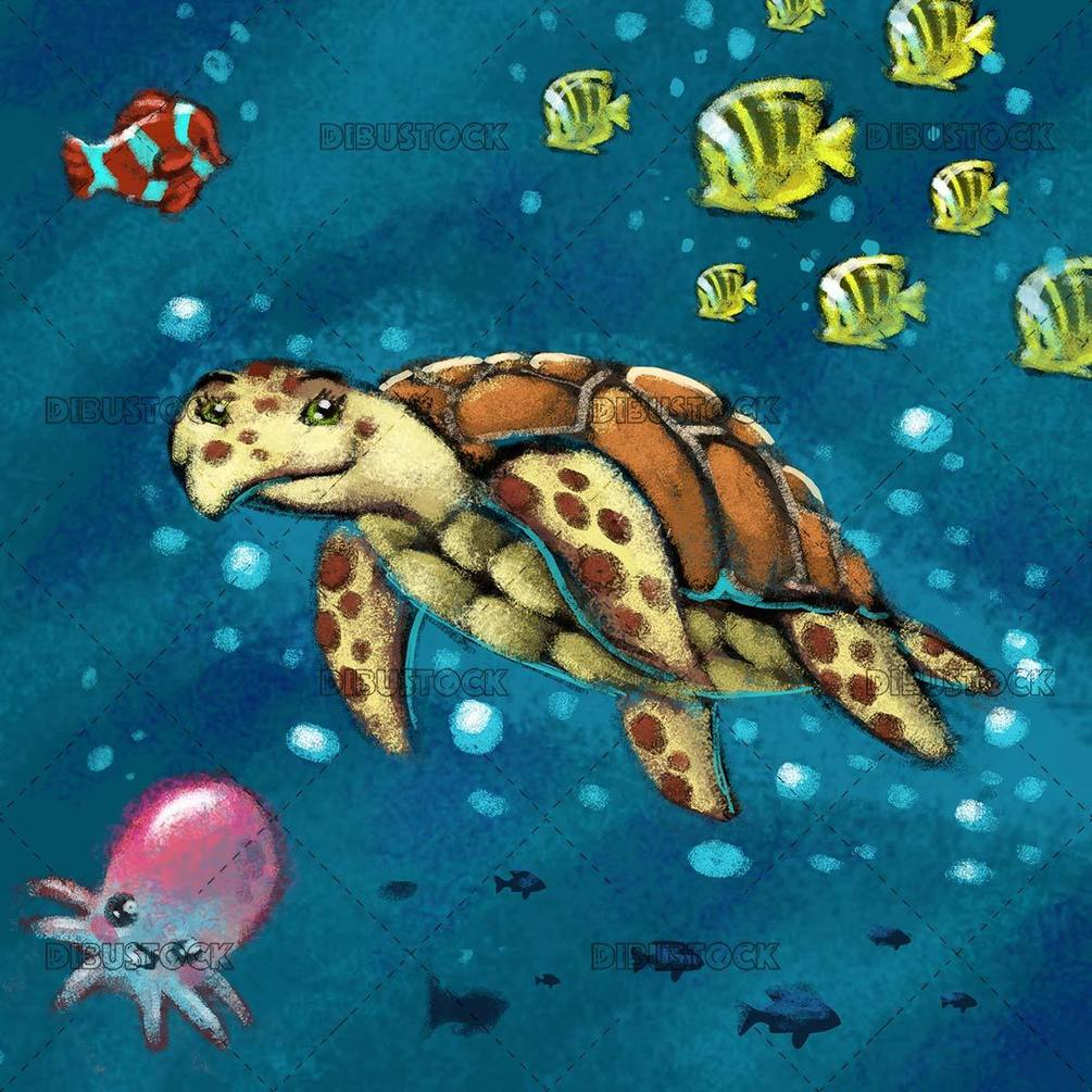 turtle at the bottom of the sea with fish