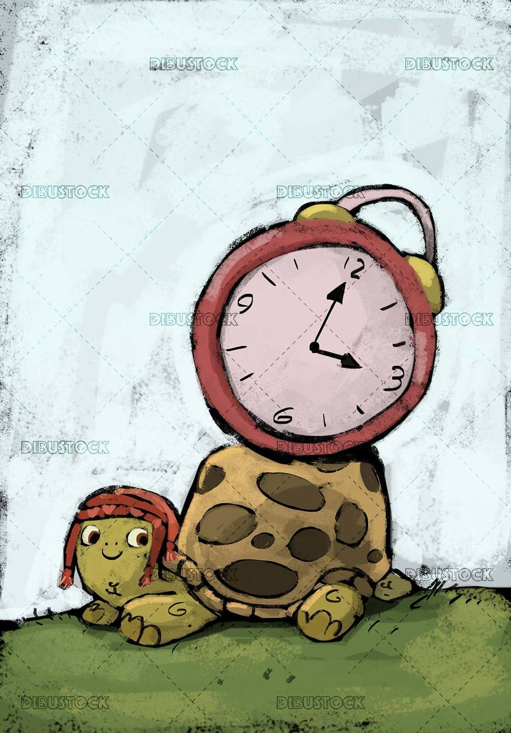 turtle with hat wearing a clock