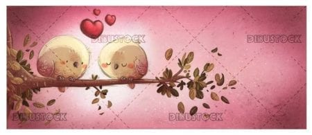 two birds in love on a branch with pink background