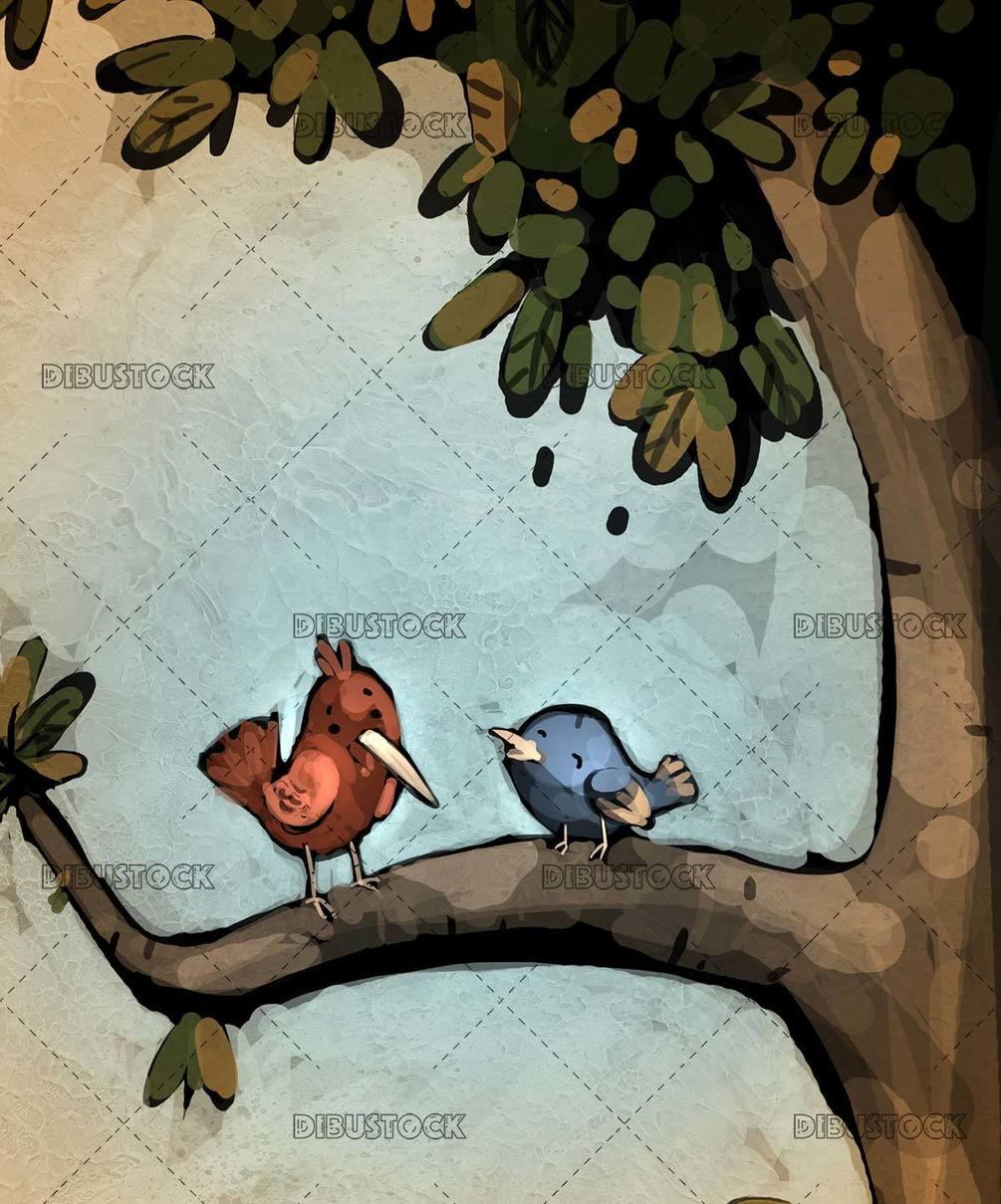 two birds talking on a tree branch