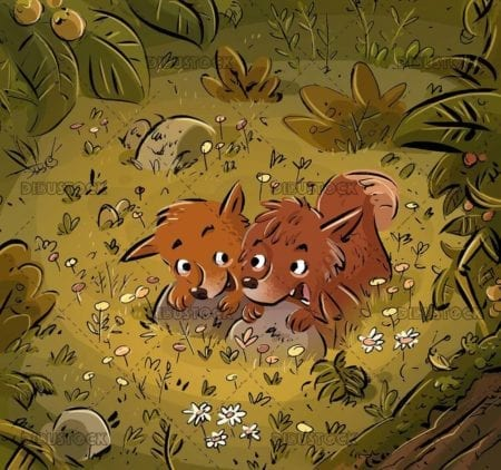 two foxes hidden in the forest