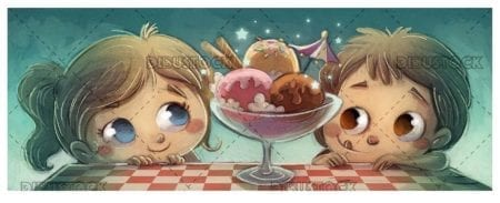 two funny kids looking at an ice cream cup with texture background