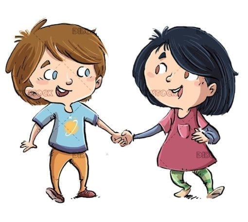 two happy children holding hands walking