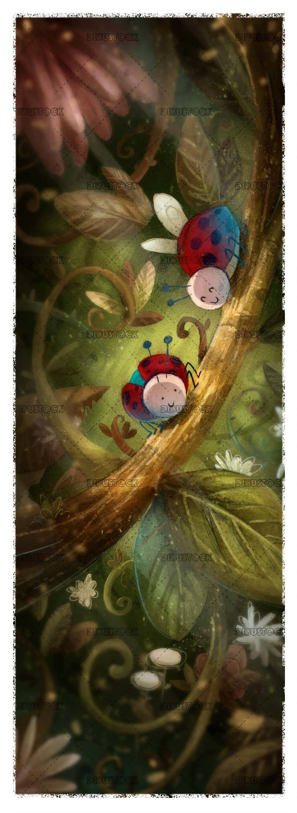two ladybugs on a branch in the middle of the forest