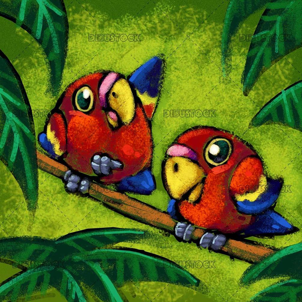 two small parrots on a branch