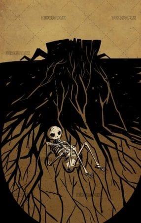 underground skull with tree roots around