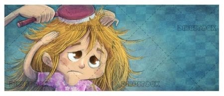 upset girl while combing with textured background