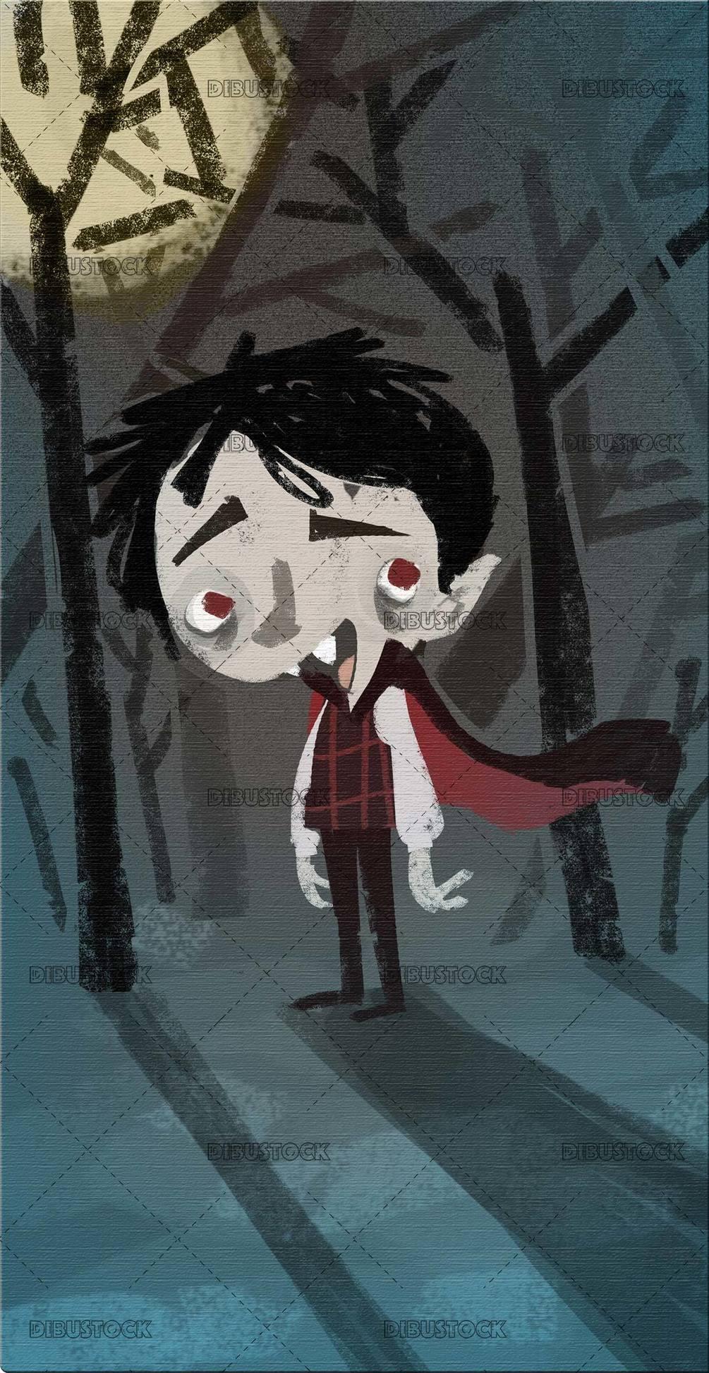 vampire boy in the dark night