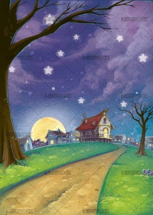 village night landscape with houses