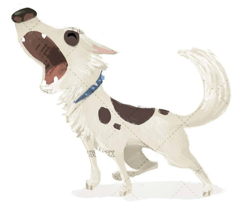 white dog with barking spots