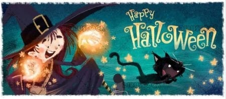 witch and black cat doing magic with halloween background
