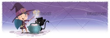witch and black cat doing magic with pot
