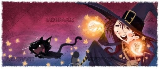 witch and black cat doing magic with texture background