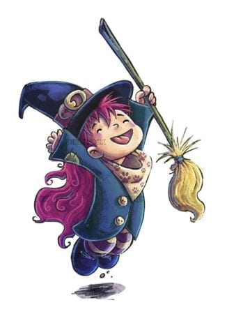 witch with broom jumping for joy