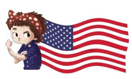 working girl with USA flag