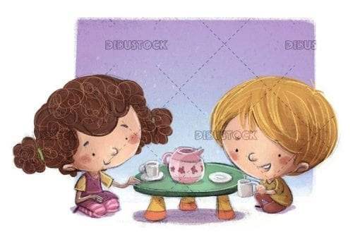 young children playing to take tea at the table