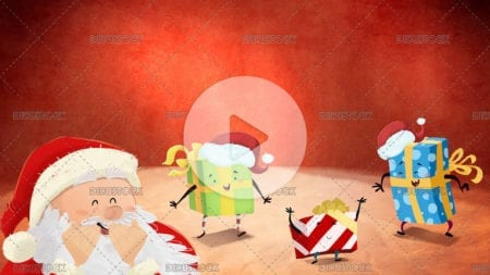 Santa claus with dancing gifts