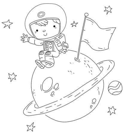 Astronaut boy sitting on a planet coloring page