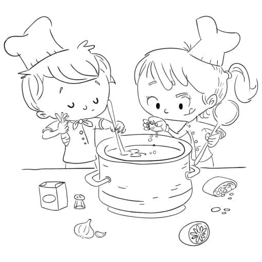 Boy and girl cooking. Coloring page