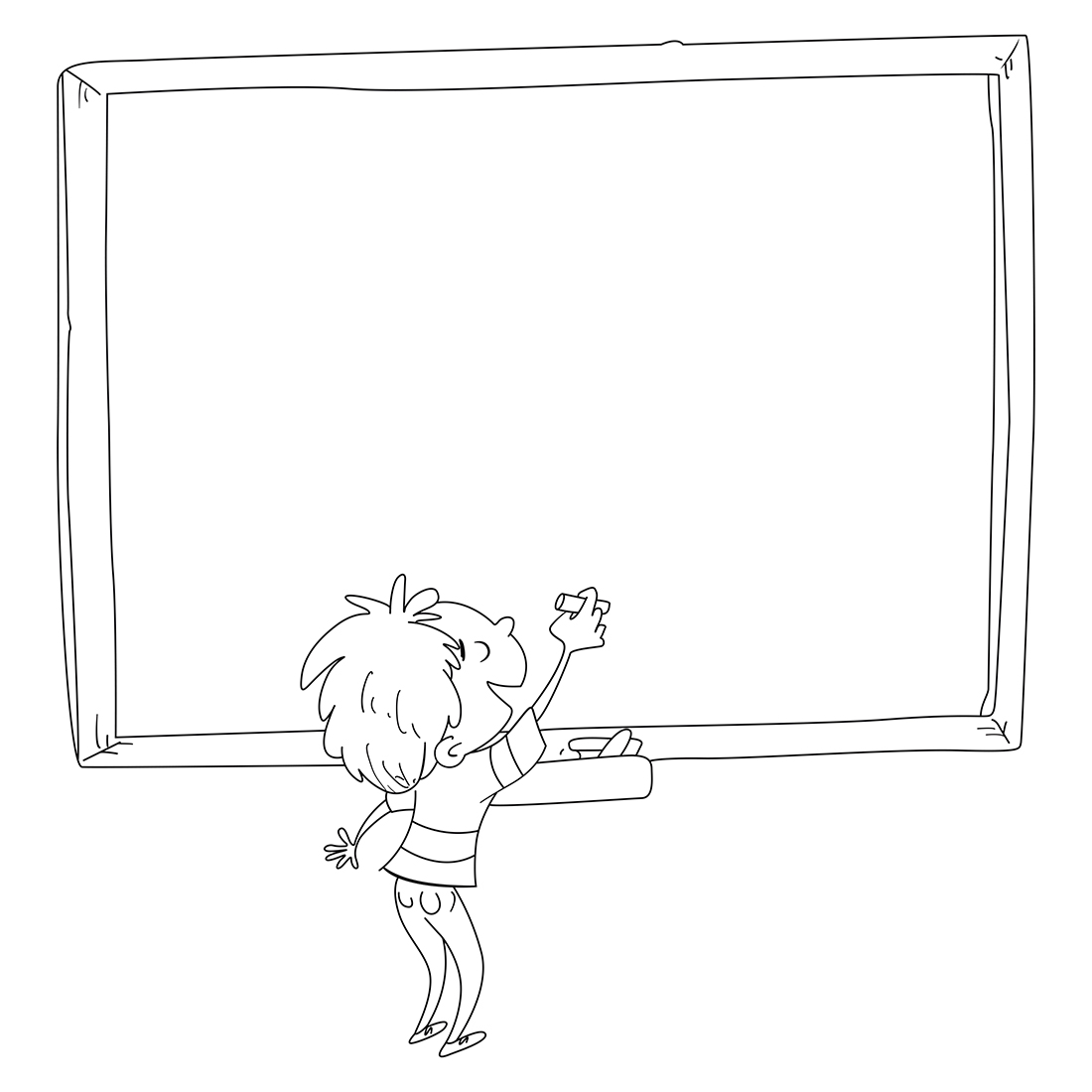 Boy writing on a blackboard in class. Coloring page