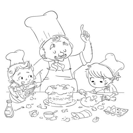 Children and a cook making a recipe in the kitchen. Coloring page