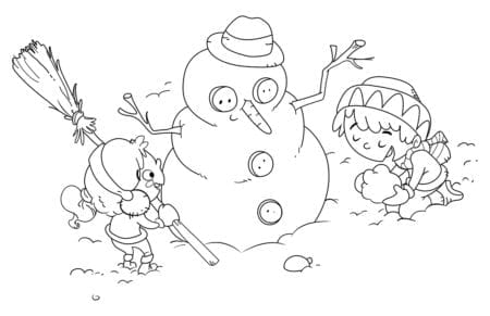 Children making a snowman. Coloring page