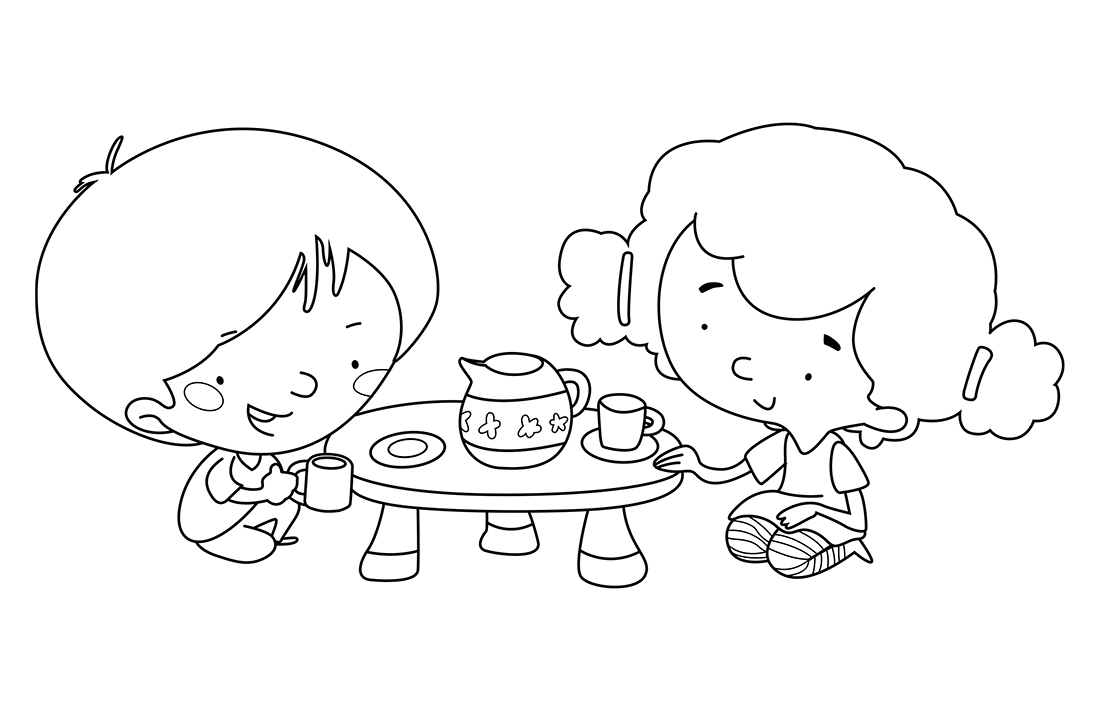Children playing tea. Coloring page
