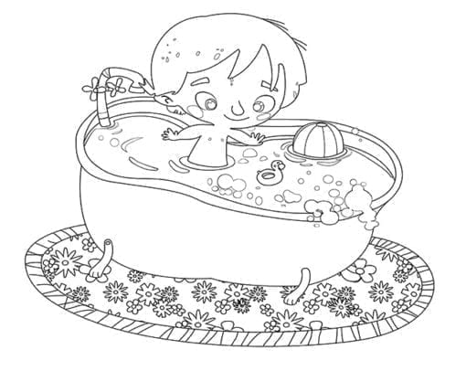 Little boy in the bathtub playing coloring page