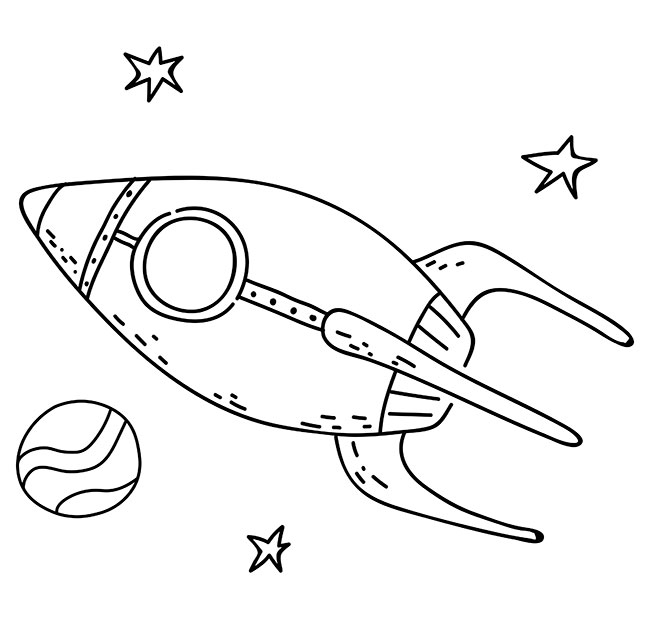 Rocket flying through space coloring page