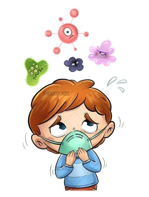 boy with mask and fear of viruses