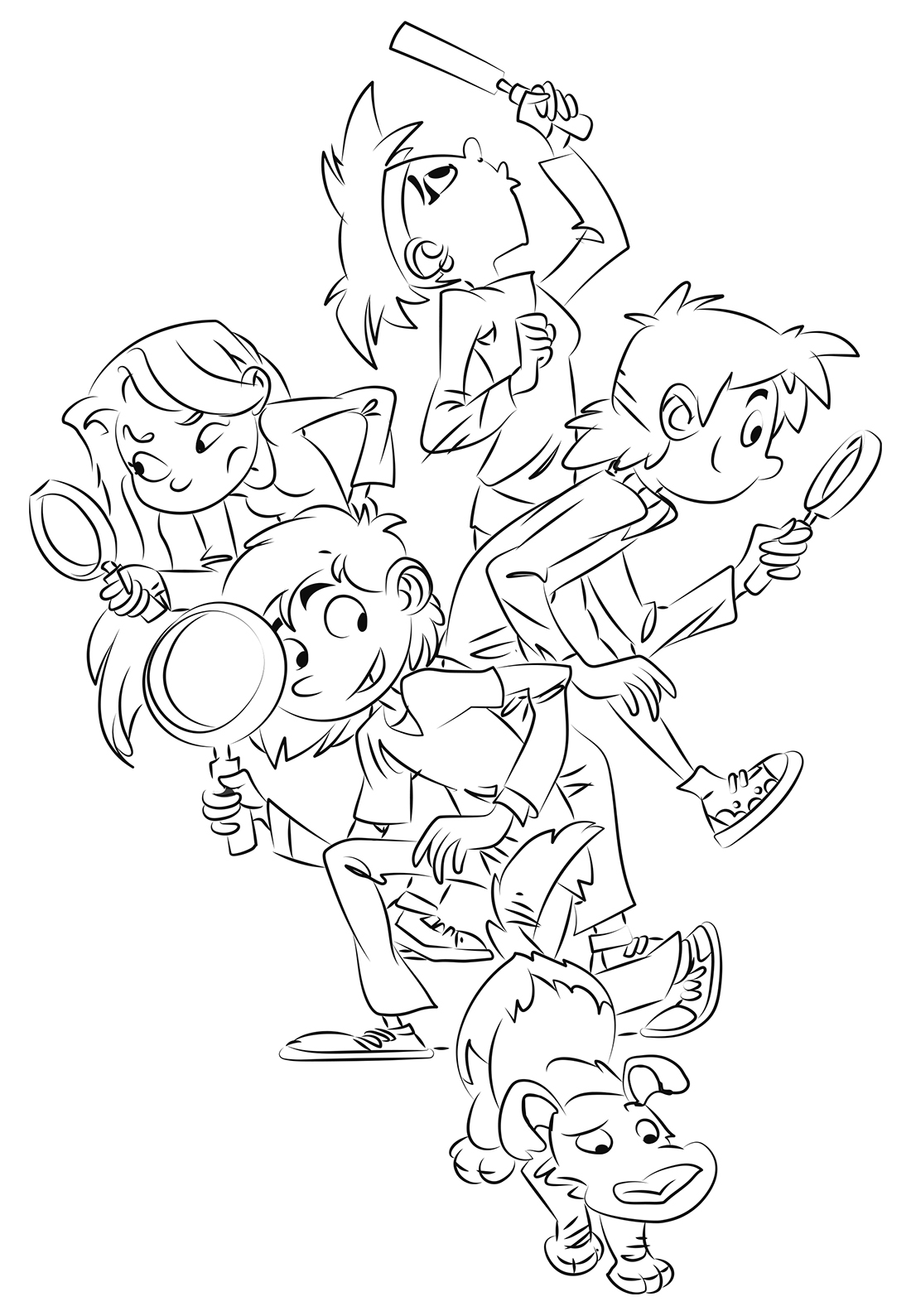 group of children with magnifying glasses. Coloring page