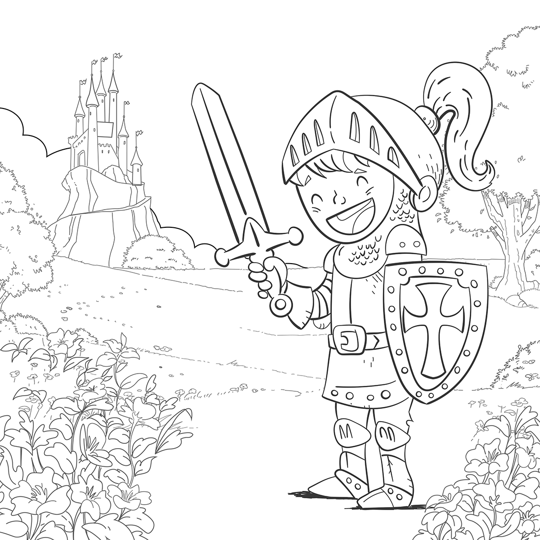 knight in armor coloring page