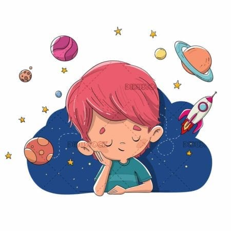 Boy imagining things related to space planets universe low