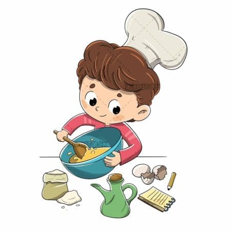 Boy making a recipe with ingredients low
