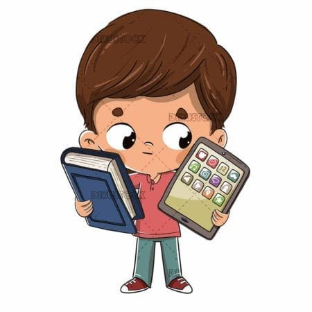 Boy with a tablet and a book