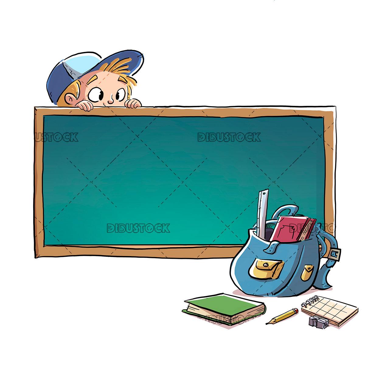 Boy with blackboard and school supplies