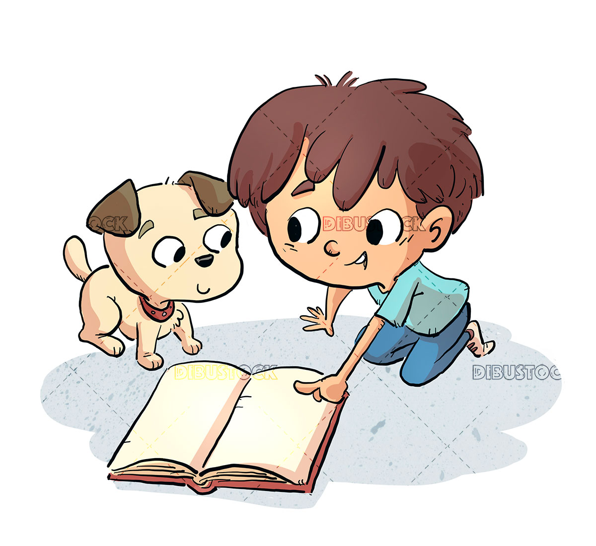 Boy with dog reading a book