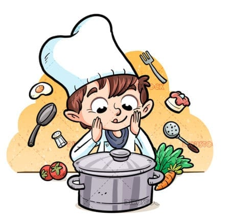 Child cook with ingredients and pot