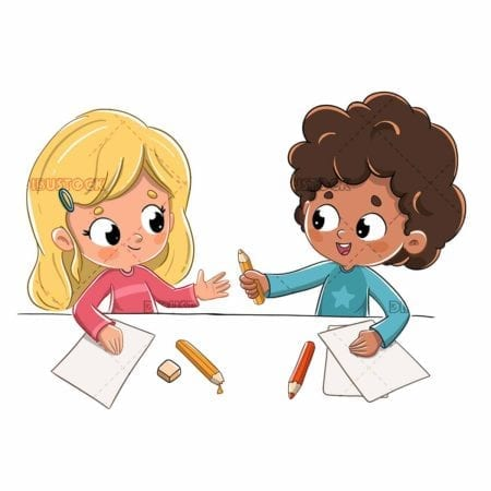 Children at school lending a pencil low
