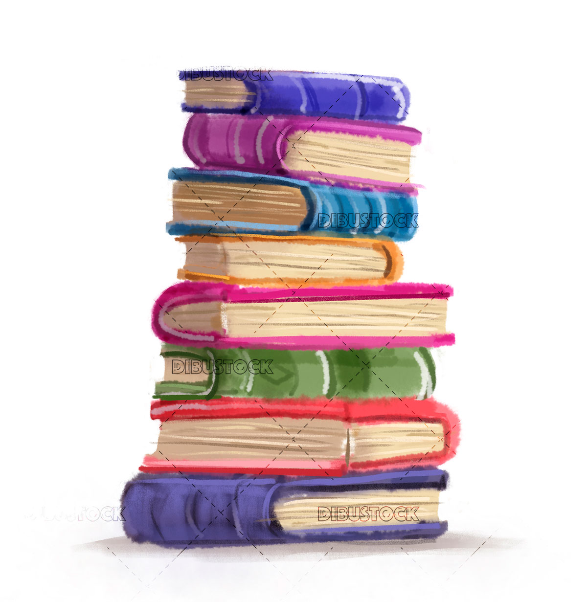 Colored books stacked