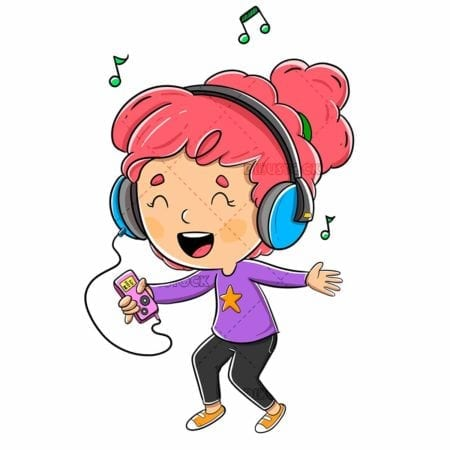 Girl listening to music with headphones and a player in hand