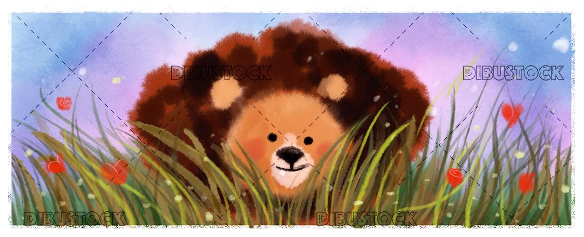 Lion hidden among the grass
