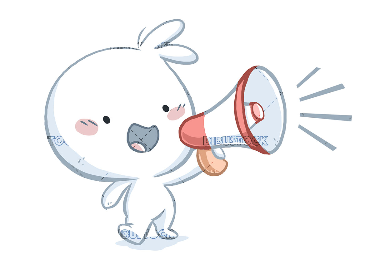 Little boy with megaphone talking