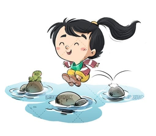 Little girl jumping between the stones of a river