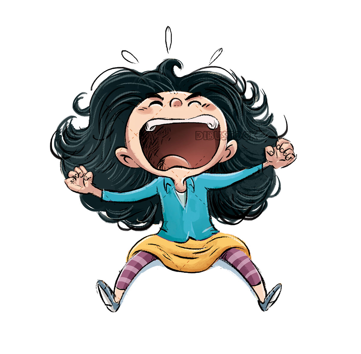 Little girl screaming very angry