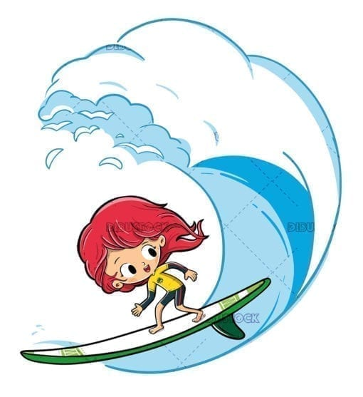 Little girl surfing on a wave low
