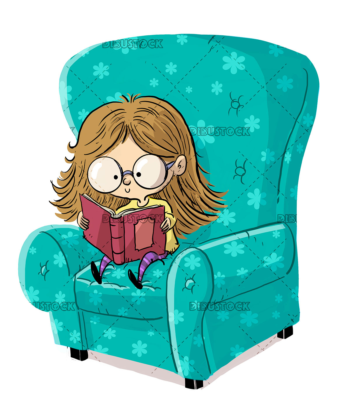 Little girl with glasses reading a book in a chair